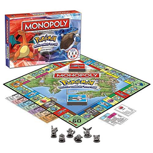 XXCC Junta Pokemon Monopoly Monopoly Juego de la Familia Pokemon Juego de Cartas Juego de Mesa para Las Edades de 8 y para Arriba (Versión Clásica)