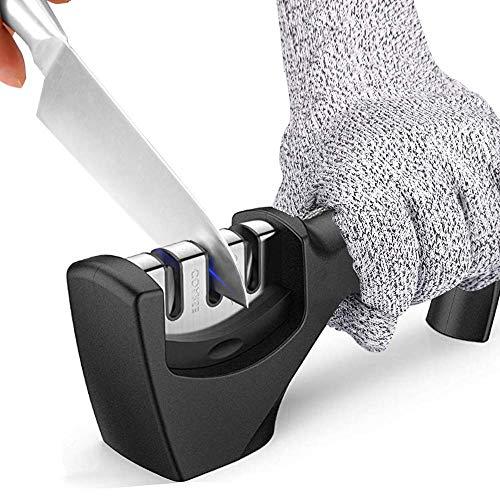 KIPIDA Manuelle Messerschärfer,3 Stufen Messerschleifer für Grobschärfen und Scheren Schleifen,Diamant für Formen und Schärfen mittelfeinen Schliff und Spezialkeramik mit Schnittbeständiger Handschuh
