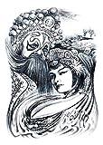 Tatuajes temporales para adultos - pegatinas de agua - pegatinas de cuerpo falso - blanco y negro - oriental - gótico - oriental - exótico - oriente - hombre - idea de regalo de cumpleaños
