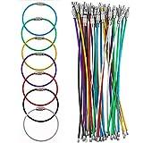 Graplan 35 Piezas Llaveros de Alambre Multicolor Llavero de Cable Llaveros de Alambre de Acero Inoxidable para Colgar Etiquetas de Equipaje,Llaveros y Tarjetas de Identificación