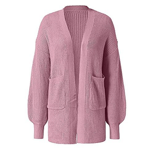 Mujeres de gran tamaño sólido Vintage Cardigan manga larga abrigo chaqueta bolsillos ropa exterior