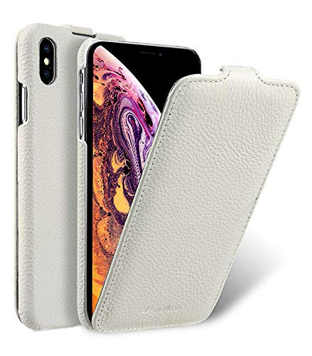 MELCKO Tasche passend für Apple iPhone XS MAX (6,5 Zoll), Flip-Hülle, Ultra-Slim Cover, Schutz-Hülle klappbar, Hülle Außenseite aus beschichtetem Leder, Etui, Weiß