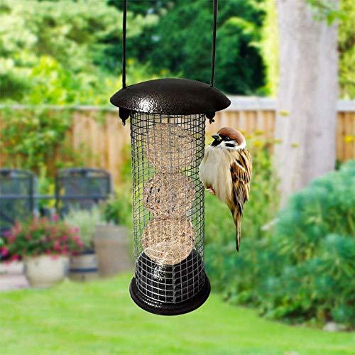 Funihut Voedingdispenser voor vogels, vogelvoerdispenser, zaden dispenser, voor wilde vogels, om op te hangen, wilde gras, kleine donkere vogels, 10 x 1 x 30,5 cm