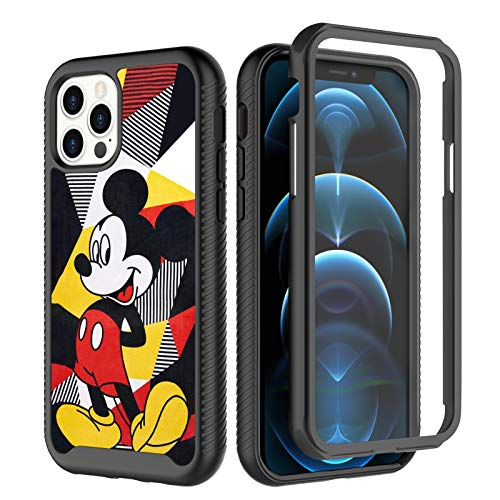 DISNEY COLLECTION iPhone 12 Pro Max Case 6.7 Inch (2020) Mickey Mouse Anti-Slip Heavy Duty Dual Layer Shockproof Full Protection Hybrid Hard Cover for iPhone 12 Pro Max (Black)