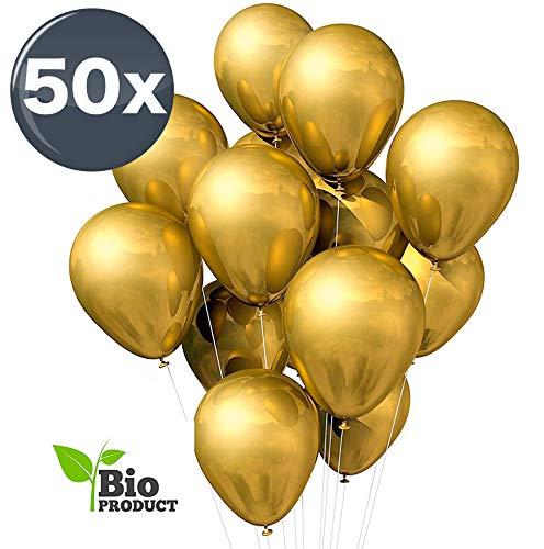 TK Gruppe Timo Klingler 50x Luftballons Gold Ø 35 cm - Kein Plastik -100 % Bio & recyclebar - Helium geeignet metallic Deko Dekoration zur Befüllung mit Ballongas (Gold)