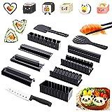 AOMIAO 11 Piezas Kit para Hacer Sushi, Sushi Kit Comida Japonesa Adecuado Manual de Uso para Amantes del Sushi Principiantes Niños Familiar Fiestas DIY Negro