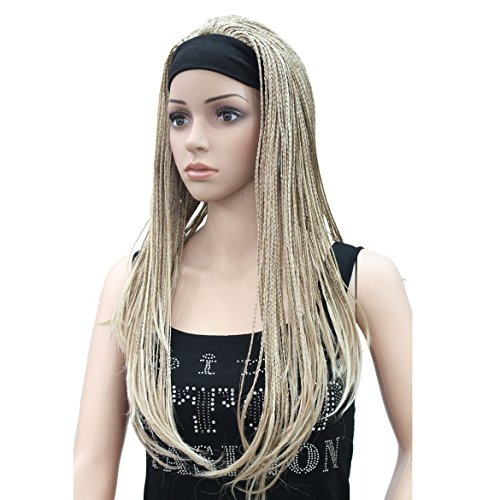 Lydell Braided Wig Afro Long Synthetic Fully Hand Tied Twist Braided Wigs (H16-613 Blonde Highlighted)