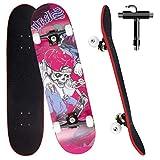 Skateboard per Principiante, 80x20 cm Skateboard Completo in Legno per Bambino Adolescenti Adulto, 7 Strati di Acero Doppio Kick Deck Concavo Trick Cruiser con lo strumento T Tutto in Uno (viola)