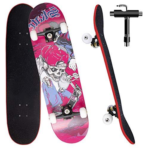 Skateboard Komplettboard 79x20cm Cruiser Skateboard für Erwachsene Kinder Jugendliche , 7-lagigem kanadischem Ahornholz mit All-in-one Skate T-Tool für Anfänger