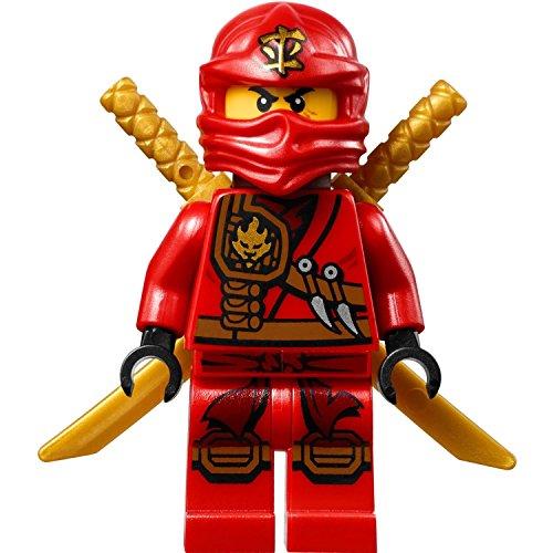 LEGO Ninjago: Minifigur Kai (roter Ninja) mit Schwerthalter und zwei Katanas (Schwerter)