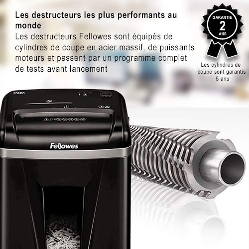 Fellowes 4074101 Destructeur de Documents 450M - 9 Feuilles Micro-Coupe