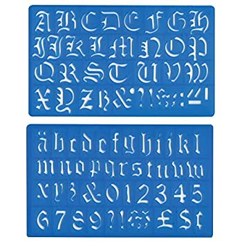 Helix - Old English Lettering Stencil Template - Upper and Lower Case Numbers and Symbols - 30mm