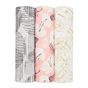 aden + anais Silky Soft Swaddle Blanket,100% Bamboo Viscose Muslin Blankets for Girls & Boys, Baby Receiving Swaddles, Ideal Newborn & Infant Swaddling Set, 3 Pack, Pretty Petal
