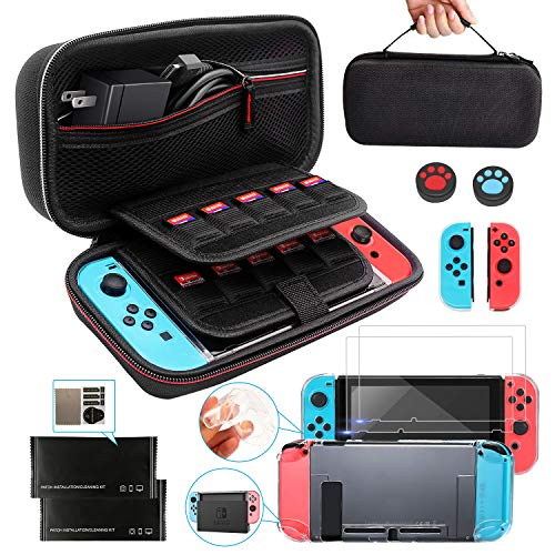 KilYn Accesorios para Nintendo Switch, Nintendo Switch Funda de Transporte con Carcasa Nintendo Switch, 2 Protector de Pantalla, 2 Pulgar Grips para Nintendo Switch Console