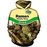 Unisex 3D Printed Hoodies Pullover Hooded Sweatshirts Long Sleeves with Pockets Funny Humor Hoodies Ramen Noodle Weed Flavor Personality Tops