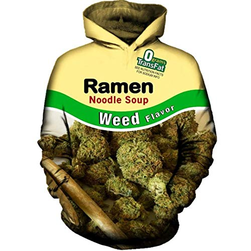 JOOCAR Unisex Hoodies 3D Realistic Print Funny Ramen Noodle Soup Weed Flavor Pullover Hooded Sweatshirts Long Sleeves Hoodies with Big Pockets Personality Tops