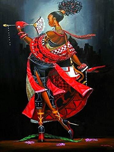 Kits de pintura de diamante para adultos hermosa mujer africana sexy abanico bailando taladro cuadrado completo mosaico arte 5D punto de cruz belleza para decoración de la pared del hogar 30 x 40 cm