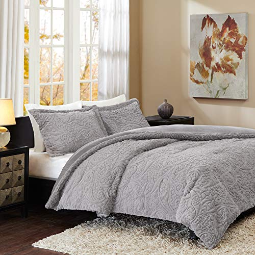 Madison Park Norfolk Super Soft Plush Faux Fur Paisley Blush Luxury Bedding Set Bedroom Comforters, King, Grey