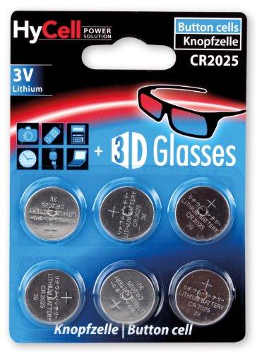 HyCell 6x CR2025 Batterie Lithium Knopfzelle 3V /  Qualitativ hochwertige Knopfbatterien / Ideal für Autoschlüssel  TAN-Gerät  Taschenrechner  Kinderspielzeug  Fernbedienung  Uhren  etc.