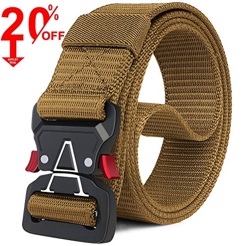 """Fairwin Tactical Belt, Military Style Webbing Riggers Web Gun Belt with Heavy-Duty Quick-Release Metal Buckle (Brown-A, S 30""""-36"""")"""