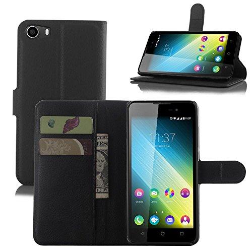 ECENCE Handy-Schutzhülle - Handytasche für Wiko Lenny 2 Schwarz - Smarthone Case Cover stoßfest mit Kartenfach - Handycase mit Stand-Funktion 31010209