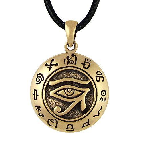Bronze Egyptian Udjat Eye of Horus Ra Pendant Necklace