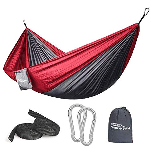 Forbidden Road Hammock Single Double Camping Lightweight Portable Hammock for Outdoor Hiking Travel Backpacking - Nylon Hammock Swing - Support 400lbs Ropes Carabineers 11 Colors (Grey Red)