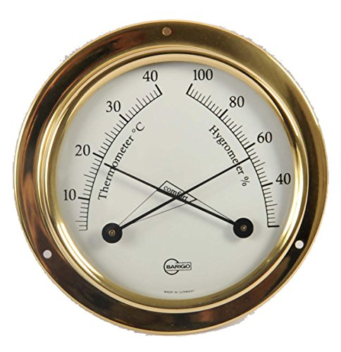 Barigo 9710 Tempo S thermohygrometer analoog rond messing 88mm