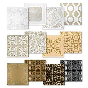 Hexim - Placas de techo de poliestireno, gran selección de 50 x 50 cm, revestimiento de pared y techo de 1 m², paneles de colores indeformables, NR.112 C-Z