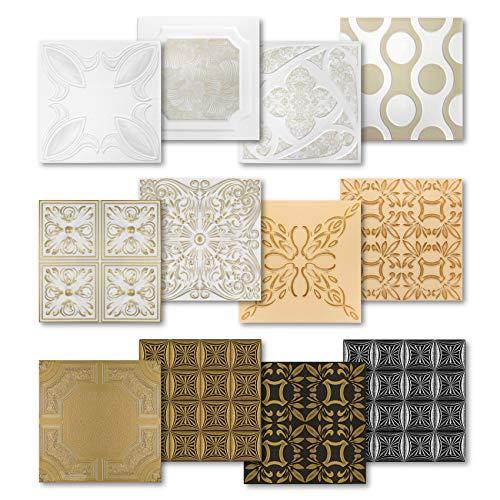 Hexim Styropor Deckenplatten - große Auswahl 50x50cm XPS Wand- und Deckenverkleidung 1 qm farbige Platten Dekor formfest NR.112 C-SV