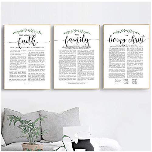"The Family Proclamation Print Christ Faith Quotes Black White Pictures Rustic Wall Art Canvas Painting Poster Decor15.7""x 23.6""(40x60cm) x3 Frameless"