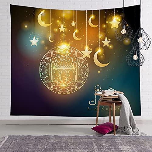 KHKJ Musulmán Luna Castillo Tapiz para Colgar en la Pared Viajar Camping Pintura al óleo Boho Manta Yoga Festival de Ramadán Tapices A7 150x130cm