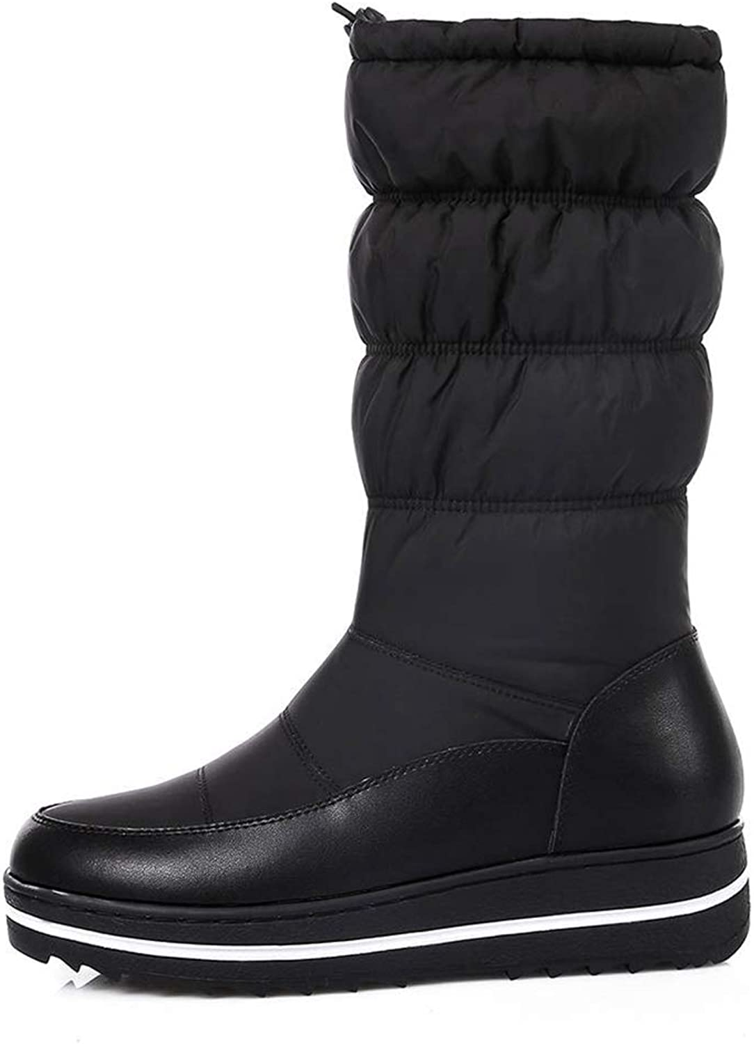 Jim Hugh Womens Mid Calf Boots Fashion Height Increasing Platform Slip-On Cow Leather Winter shoes