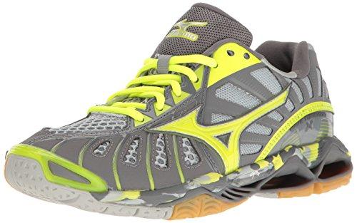 Mizuno Women's Wave Tornado X Volleyball Shoes, Grey/Safety Yellow, 10 B US