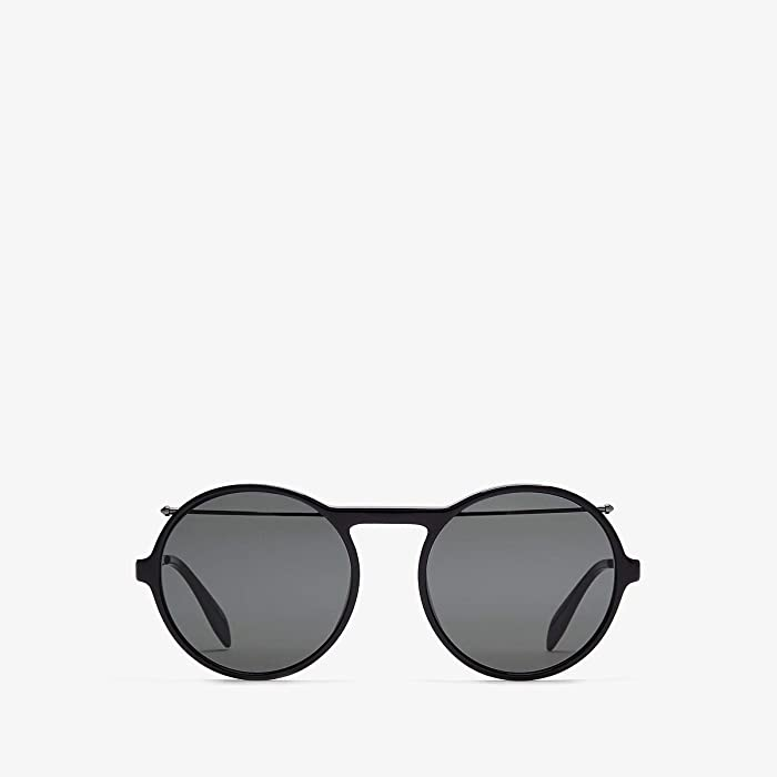 Alexander McQueen  AM0192S (Shiny Dark Ruthenium/Solid Grey) Fashion Sunglasses