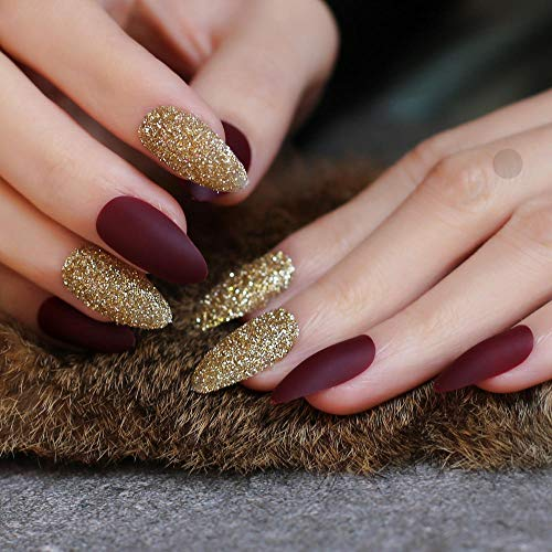 CSCH Faux ongles Almond matte with Glitter MIX DIY nail Stiletto blue False nail Burgundy red fake Nails art nude 24pcs full set marble card pink