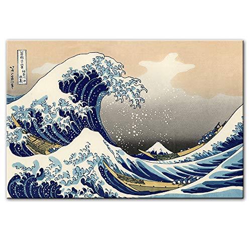 WJY The Great Wave off Kanagawa Dipinti su Tela Famose Stampe su Tela Giapponese Riproduzioni Onde Immagini murali Decorazioni murali per la casa 60cm