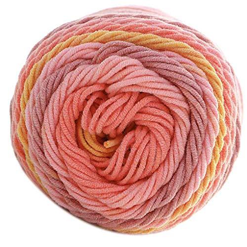 Xinjieda 100 g/Bolas de Colores del Arco Iris de 5 Capas de Hilados de algodón Hecho a Mano DIY Bufanda Almohada Manta de Crochet Soft Leche Hilo de algodón