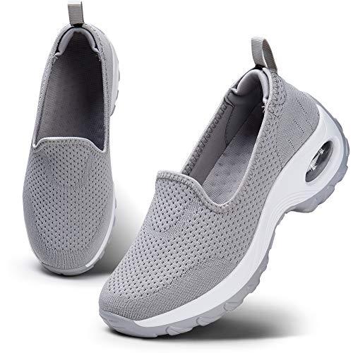 HKR Damen Slip On Sportschuhe Sneaker Turnschuhe Laufschuhe mit Keilabsatz Bequeme Mesh Luftkissen Outdoorschuhe Fitnessschuhe Grau EU 36