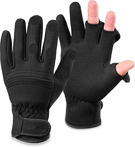 normani Wasser- und Winddichte Angel Handschuhe Winterhandschuhe Fishingsports Anglerhandschuhe 2,5 mm Titanium-Neopren Farbe Schwarz/Schwarz Größe L