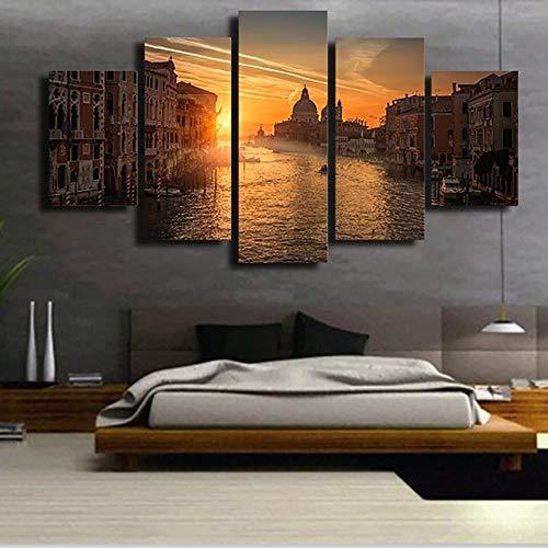 mmwin d 5 Piezas Lienzo Coche Sunset Cuadros Paisaje Lienzo Pared Arte decoraci/ón del hogar para Sala de Estar Pared Imagen