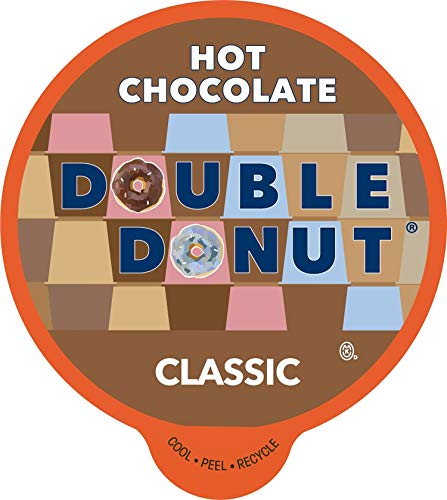 Double Donut Hot Chocolate, Classic Chocolate, Single Serve Hot Chocolate for Keurig K Cups Machines, Hot Cocoa in Recyclable Pods, 24 Count