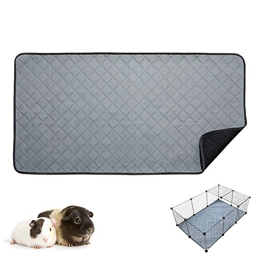 RIOUSSI Guinea Pig Fleece Cage Liners, Highly AbsorbentWashable Guinea Pig Bedding for Midwest and C&C Guinea Pig Cages with Leak-Proof Bottom.CC 2X3, Light Gray.