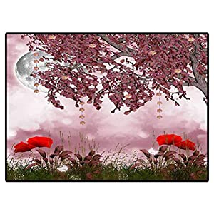 Classroom Rug Porch Rug Pink Garden with Fantasy Tree Carpet Living Room Deco Rectangle Mat 6.6 X 10 Ft