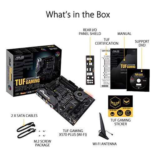 ASUS AM4 TUF Gaming X570-Plus (Wi-Fi) AM4 Zen 3 Ryzen 5000 & 3rd Gen Ryzen ATX Motherboard with PCIe 4.0, Dual M.2, 12+2 with Dr. MOS Power Stage