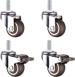LCOUACEO 4 stuks kleine wielen voor meubels M8x20mm wielen voor meubels, 360° draaibare zwenkwielen, meubelwielen met rem,...