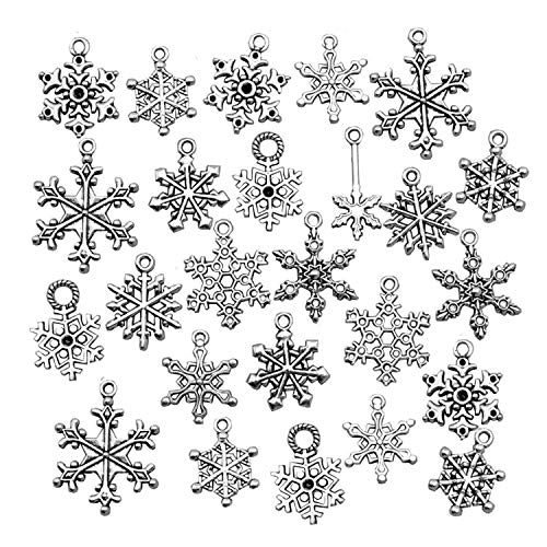 Snowflake Charm-100g (About 80-90pcs) Antique Silver Christmas Snowflake Charms Pendants for Crafting, Jewelry Findings Making Accessory for DIY Necklace Bracelet (M005)
