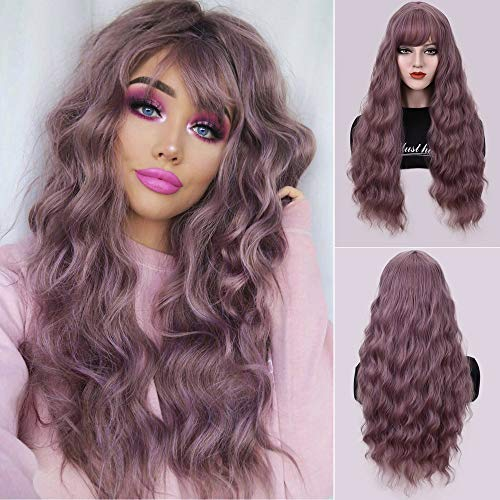 Dust Lavender Long Wavy Curly Wigs with Air Bangs for Women Girl 28'' Natural Looking Women's Lavender Water Wave Hair Replacements Wigs