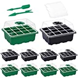 10 Packs Seed Starter Trays Seedling Tray, Humidity Adjustable Kit with Dome and Base Greenhouse Grow Trays Mini Propagator for Seeds Growing Starting(5 Green & 5 Black)