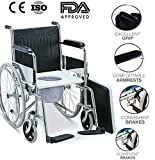 Viva Healthcare Folding With Commode & Pot Steel Coated Frame Wheelchair